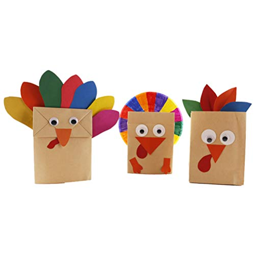 BESTOYARD 3pcs DIY Thanksgiving Turkey Craft Kit for Kids Thanksgiving Party Favors Gift Paper Bags Decorations for $<!--$4.49-->
