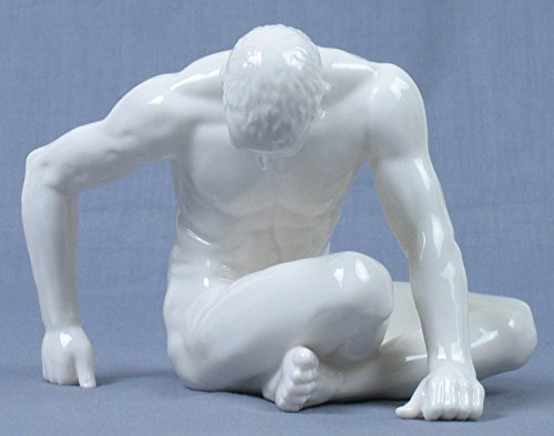 6 Inch All White Porcelain Nude Male Figurine with Bowed Head, Glazed
