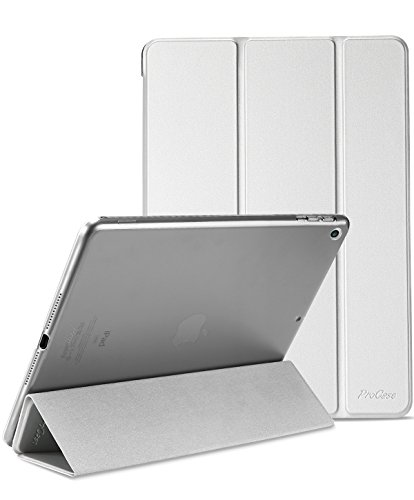 ProCase iPad 9.7 Case 2017 iPad 5th Generation Case - Ultra Slim Lightweight Stand Case with Translucent Frosted Back Smart Cover for 2017 Apple iPad 9.7 Inch –Silver