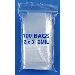 "HTS 262B1 1,000 Pack 2"" x 3"" Zip Bag Set - 2 Mil"