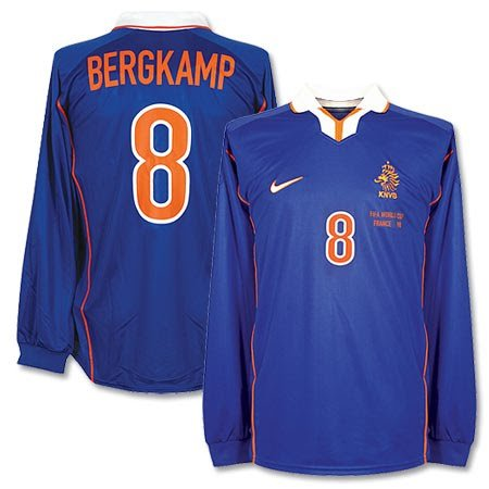 Nike Holland World Cup - Nike 98-99 Holland Away L/S Jersey + Bergkamp 8 + France 98 World Cup Embroidery - XL