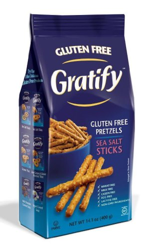 Gratify Gluten Free Pretzels Sea Salt Sticks Vegan GF Pretzels, 14.1oz Bag (Pack of 6)