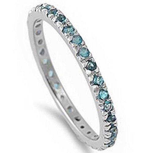 Oxford Diamond Co Stackable Simulated Aquamarine .925 Sterling Silver Eternity Band Size ()