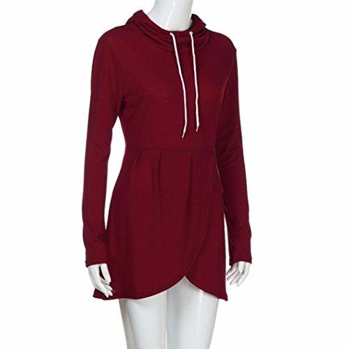 con Vino Sudadera rojo de del la Desgastar de Jersey capucha del irregular dobladillo Tops con Internert asimétrica manga las abrigo larga mujeres capucha 51SB5np