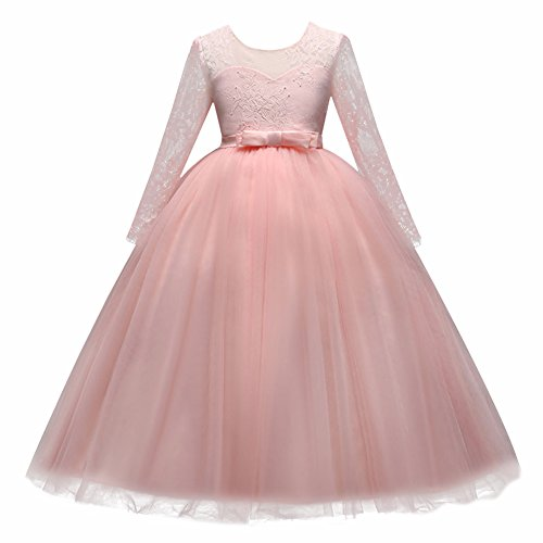 Flower Girl Junior Bridesmaid Long Sleeve Lace Party Wedding Formal Dance Gown Princess Sweetheart Dress Dancewear Costume Pink Blush 10-11 Years ()