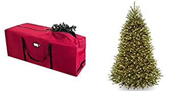 Elf Stor Red Canvas Rolling Christmas Tree Storage Duffle Bag Plus 6.5 Foot  Dunhill Fir