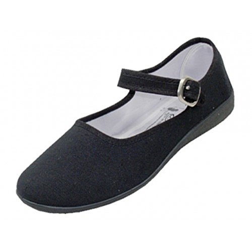 Easy USA Women's Cotton Mary Jane Shoes Ballerina Ballet Flats Shoes (7 B(M) US, Black) (11 B(M) US, 115 Black)