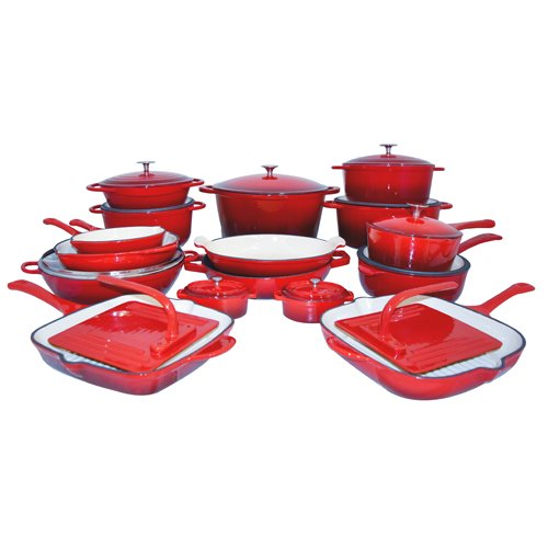 Le Chef 28 Piece All Enameled Cast Iron Cherry Cookware