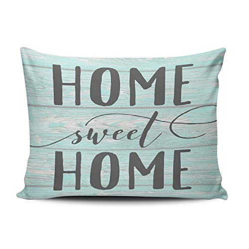 - WULIHUA Throw Pillow Covers Mint and Turquoise Home Sweet Home Aqua Chippy Wood Accent Boudoir Outdoor Cushion Cover Pillowcase Size 12x18 Inch One Sided Printed Chic Fashion Design