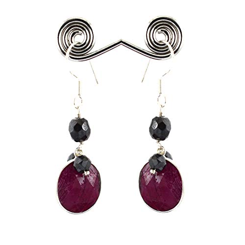 (skyjewels Ruby with Black Diamond Beads Handmade Dangler Silver Earrings)
