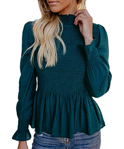 - Womens High Turtle Neck Plain Long Bell Sleeve Blouses Casual Smocked Basic T Shirt Tops Blue