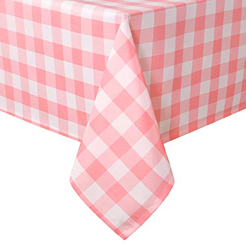 Homedocr Pink and White Checkered Tablecloth Rectangle - Stain Resistant, Waterproof Polyester Gingham Table Cloth for Outdoor Picnic and Holiday Dinner, 60 x 84 Inch