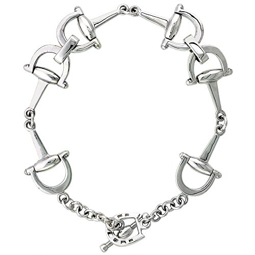 Sterling Silver Dee Ring Snaffle Bits Bracelet 1/2 inch wide, 7 1/2 inch long by Sabrina Silver (Image #1)