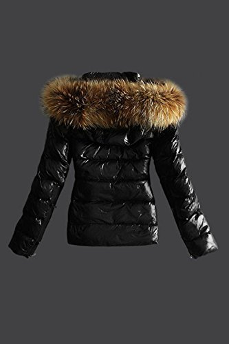 Puffer Fur Faux Zip Coat Invierno Outerwear Casual Up Mujer La Acolchado Black Plain Hooded 1SxAwfvvq