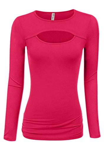 Note Womens Pink T-shirt (Simlu Fuchsia Long Sleeve Shirt Fuchsia Tops For Women Hot Pink Top Plus Size and reg)