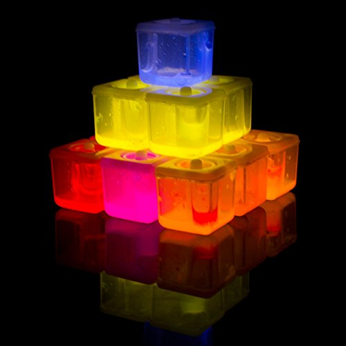 Fun Central G707 24 Pieces, Assorted Glow in the Dark Ice Cubes, Glow in the Dark Ice Cubes for Drinks, Glowing Ice Cubes, Light Up Ice Cubes -