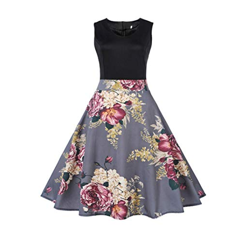 Clearance!Rakkiss Hepburn Dress Vintage Tea Ball Gown Women Floral Elegant Sleeveless Dress