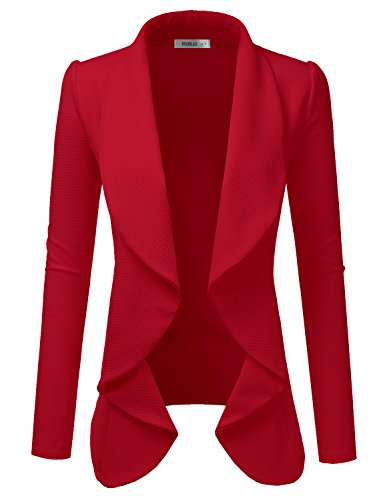 Blazer Womens Velvet (Doublju Classic Draped Open Front Blazer for Women with Plus Size RED Medium)