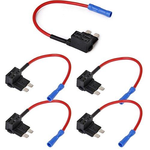 Qiorange 12V 24V Standard Add A Circuit Fuse Tap Piggy Back Blade Holder Plug Socket Car (5-Pack)