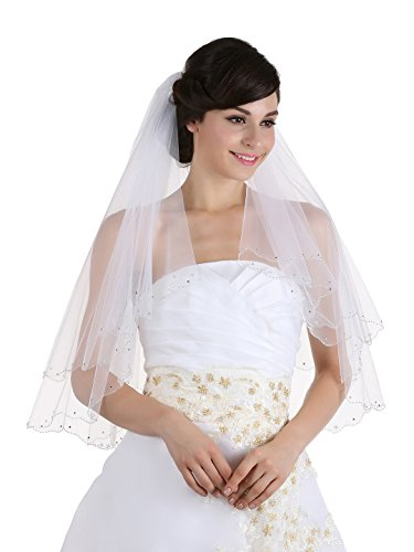 (2T 2 Tier Crystal Beaded Scalloped Bridal Veil - white Elbow 30