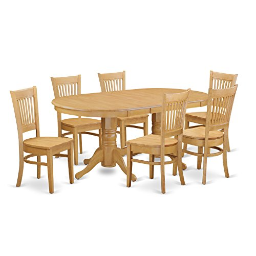 East West Furniture VANC7-OAK-W 7-Piece Dining Table Set ()