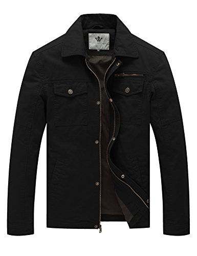 WenVen Men's Laydown Collar Canvas Cotton Military Jacket (Black, Size M) by WenVen
