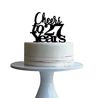 btsond Cheers to 27years cake topper for 27 years love,wedding anniversary,birthday cake topper Black acrylic