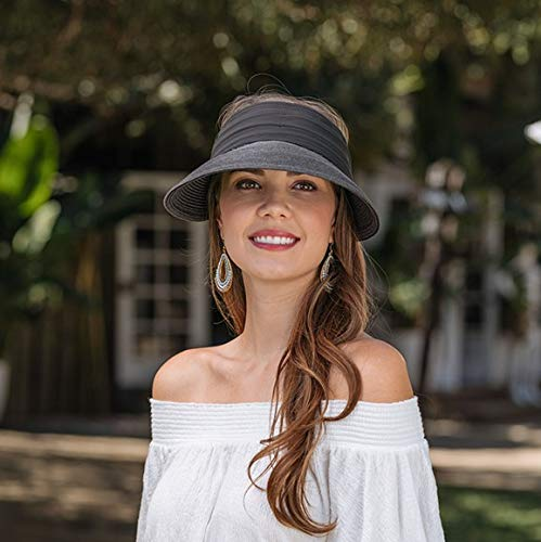 Kallina Black Sun Visor with Scarf Womens Sun Hat UPF50,Ideal Holiday Sun Hat for Warm Destinations and Outdoor Events