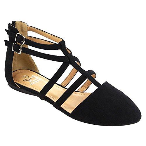 Betani Women's Abela-1 Ballerina Flats | Double Ankle Strap Sandals | T-Strap Sandals | Comfortable Sandals for Women | Black 7.5 (Shoes Womens Flat Dress)