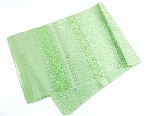 夏用(絽)正絹レース付帯揚げ黄緑色地流水葉 単衣?夏物着物に