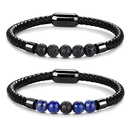 - Besteel 2 Pcs Mens Lava Rock Bead Leather Bracelets for Boys Healing Diffsuer Bracelet with Magnetic Clasp Lapis Lazuli
