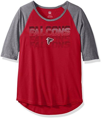 "NFL Girls 7-16""Differaction Short Sleeve Tee-Crimson-M(10-12), Atlanta Falcons"