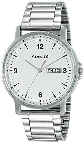 Sonata Essentials Analog White Dial Men's Watch NM77083SM01 / NL77083SM01