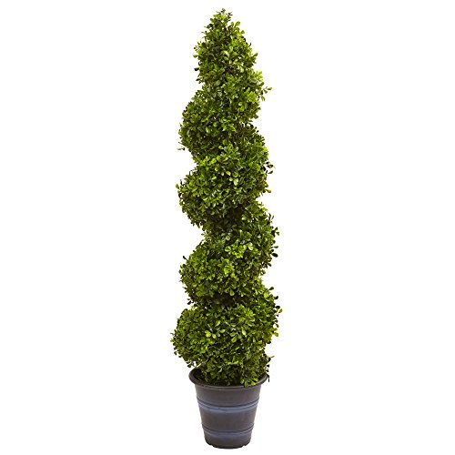 Nearly Natural 5475 Boxwood Spiral Topiary with Planter (in/Outdoor) by Nearly Natural