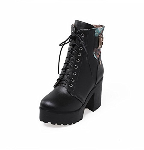 Heels Toe Soft Material Low AmoonyFashion Boots High Black Color Round Assorted Women's top Closed HgRqXqPnx