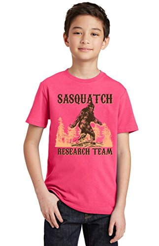 Promotion & Beyond Sasquatch Bigfoot Research Team Youth T-Shirt, Youth S, Cyber Pink