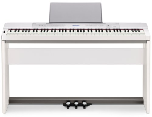 Casio Privia PX-350 88-Key Digital Piano Bundle with Casio CS-67 Furniture-Style Stand, Casio SP-33 3-Pedal System, Hal Leonard Instructional Book, and Austin Bazaar Polishing Cloth – White