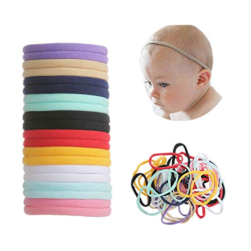 inSowni 50 Pack Super Soft Stretchy DIY Nylon Headbands Bulk Hair Bands One Size Fits All Newborns Infants Baby Girls Toddlers Kids (Nylon Headband Black)