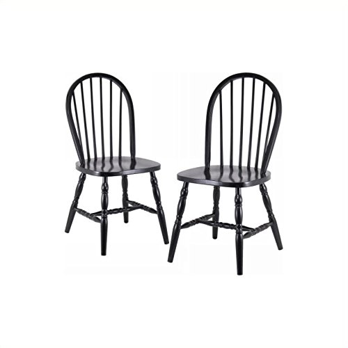 Winsome Wood Assembled 36-Inch Windsor Chairs with Curved legs, Set of 2, Black Finish (Black And Wood Dining Set)