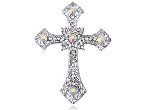 Alilang Holy Anglo Saxon Clear & AB Crystal rhinestone Cross Jewelry Pin Brooch