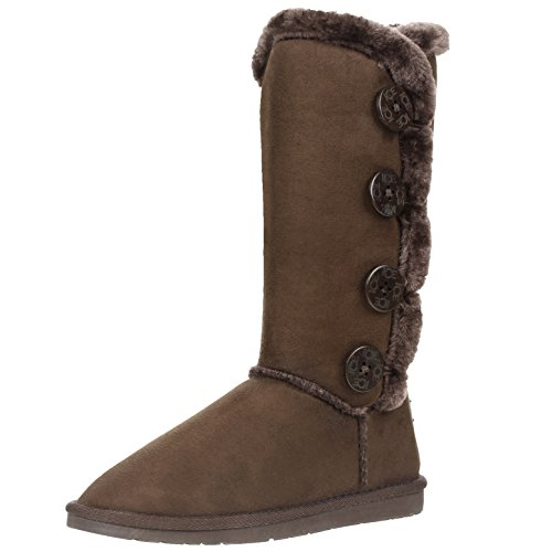 Womens Four Button Faux Fur Lined Shearling Mid Calf Winter Boots Brown aCjhc
