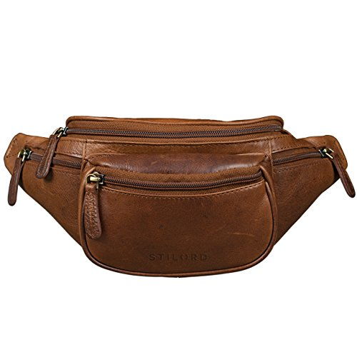 STILORD 'Eliah' Vintage Bolso de Pecho Bolso Bandolera de Cintura con correa Vintage Riñonera para móvil & la cámara digital, de cuero auténtico de búfalo, Color:marrón oscuro - opaco cognac marrón oscuro
