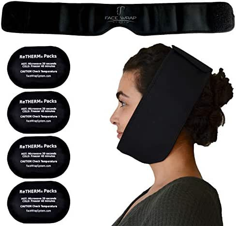 Neoprene Face Ice Pack Wrap by FaceWrap System - for Wisdom Teeth, Migraine, TMJ Relief, Oral Surgery - Head Ice Pack, Pain Relief, Heating and Cooling, Hot or Cold (FaceWrap Set)