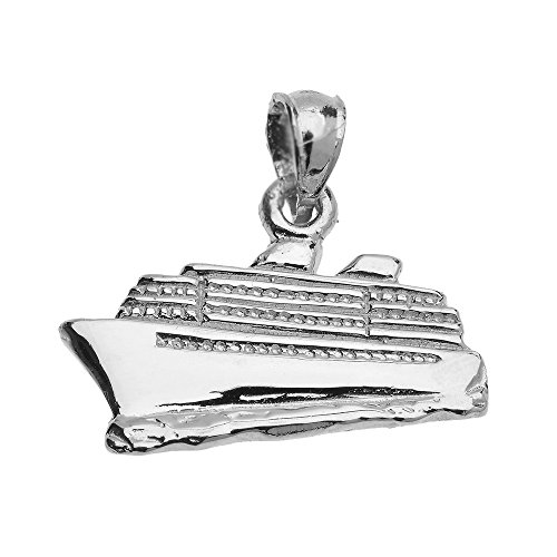 (JewelryDepotUSA Polished Cruise Ship 925 Sterling Silver Pendant (23mm x 19mm) Weight: 2.4 Grams)