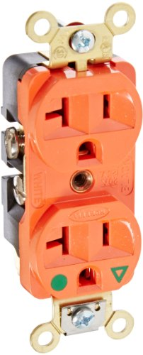 Hubbell Wiring Systems IG8300 SpikeShield HBL Extra Heavy Duty Hospital Grade Straight Blade Isolated Ground Duplex Receptacle, 125V, 20A, 1 HP, 2-Pole, 3-Wire, Orange