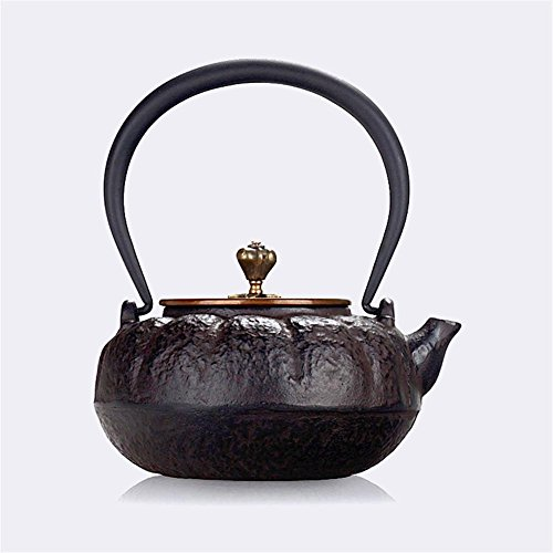 - Ahui Japanese Style Cast Iron teapot No Coating Brass Handle Copper Cover Boiled Water Health Retro Crafts Pumpkin Mini Capacity 0.6L