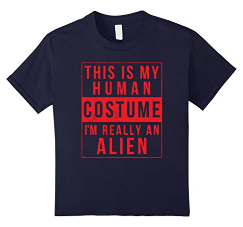 Cheap Halloween Costumes Ideas College (Kids Alien Halloween Costume Shirt Funny UFO Easy for Men Women 12 Navy)