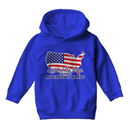 Tcombo Land Of The Free Because My Daddy Is Brave - Toddler Little Boy Hoodie Sweatshirt (2T, Royal Blue Blue) Don Hoody