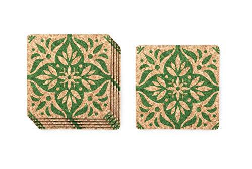Posavasos de corcho con diseno de azulejos verdes, juego de 6, elegante, resistente al calor y protector de superficie. Perfecto para la cocina o mesa de comedor