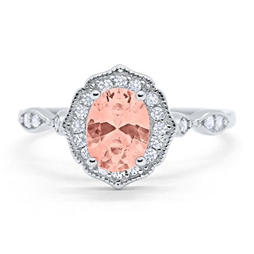 - Blue Apple Co. Art Deco Antique Style Wedding Engagement Ring Oval Round Simulated Morganite 925 Sterling Silver, Size-6